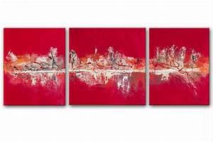 Tableau Triptyque Moderne : triptyque abstrait rouge flah panoramique tableaux modernes rouge rectangle ~ Teatrodelosmanantiales.com Idées de Décoration