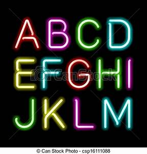 Vector of Neon glow alphabet Part 1 csp Search Clip Art Illustration Drawings and Clipart EPS Vector Graphics