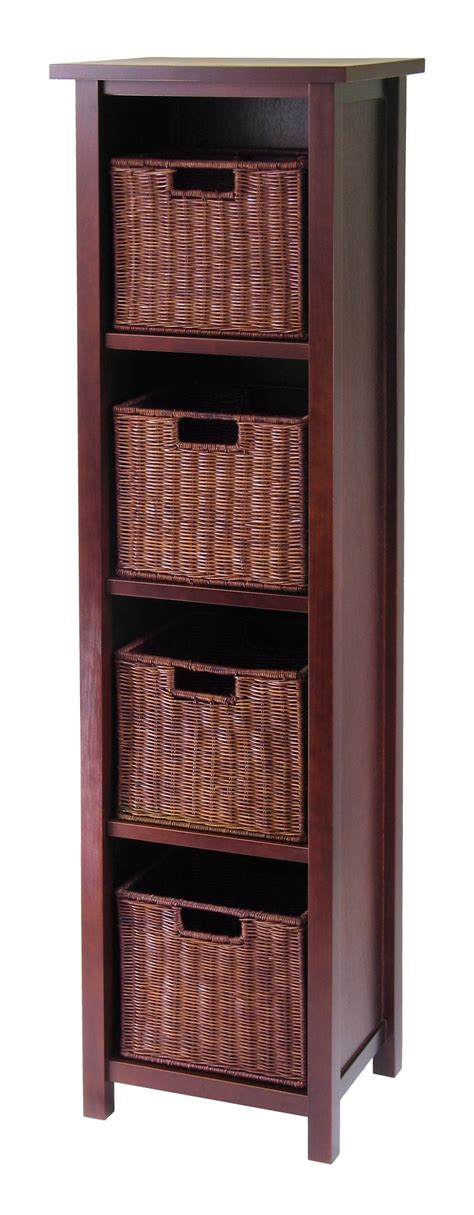 storage bookcase with baskets milan 5pc storage shelf with baskets cabinet and 4 small