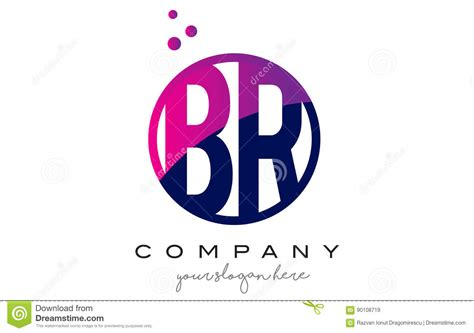 Br B R Circle Letter Logo Design With Purple Dots Bubbles