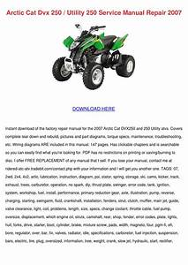Arctic Cat Dvx 250 Utility 250 Service Manual By Sonia Mahoney