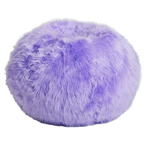 lilac fur rific beanbag pbteen
