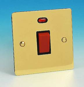 45 Amp DP Switch Sq Neon Brass Black Insert