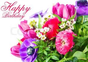 blumen hochzeitstag happy birthday card with colorful flowers stock photo colourbox