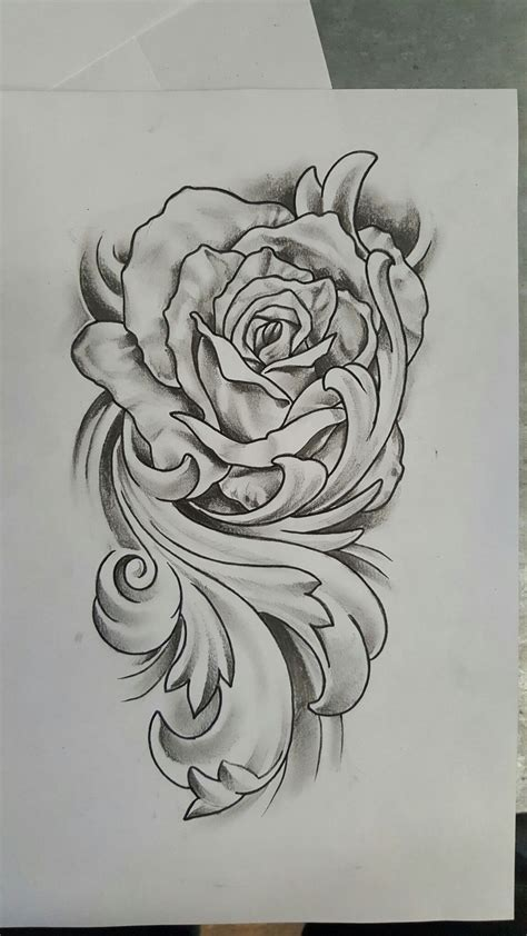 rose  flourish tattoo design tattoos dessin
