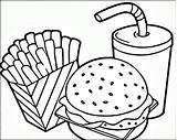 Coloring Hamburger Fries French Getdrawings sketch template