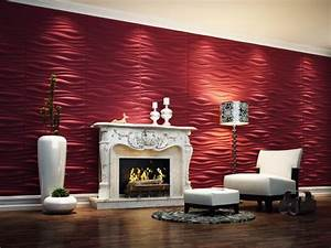 Contemporary 3d Wallpaper In Lounge Space With Red Color ...