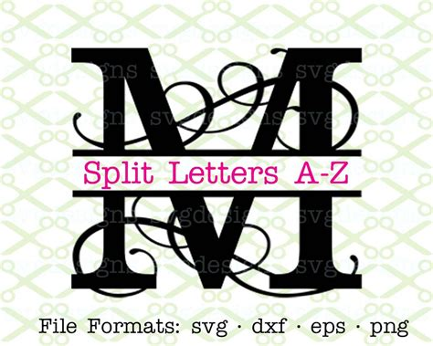 flourish split letter monogram svg dxf eps png split letter monogram svg split letter