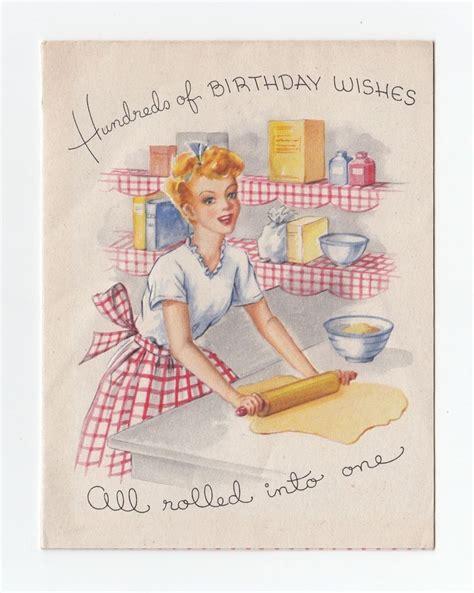 vintage greeting card lady kitchen baking rolling dough