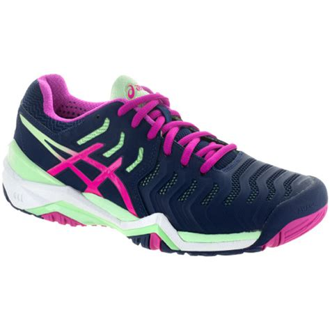 asics gel resolution  womens tennis shoe indigo bluepink glowparadise green  tennis shop