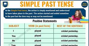 Simple English Grammar Tenses Chart Simple Past Tense Definition Useful Examples In English