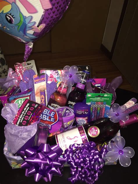 purple themed st birthday gift basket   female