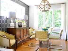 yellow  gray midcentury modern dining room hgtv
