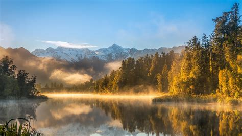 wallpaper autumn fog forest lake mountains  nature