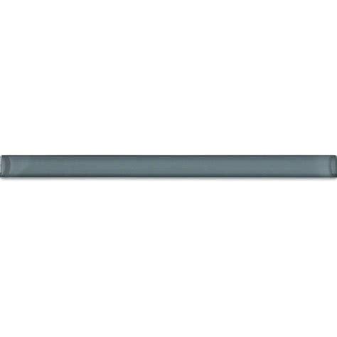 splashback tile gray blue glass pencil liner trim wall