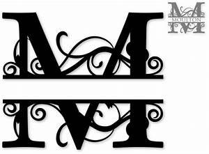 quotmquot split monogram svg attic cricut pinterest With free monogram template