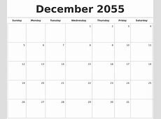 December 2055 Blank Monthly Calendar