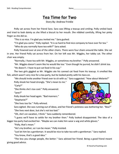 Tea Time For Two  Reading Comprehension Worksheet