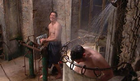 Tess Daly Gets Excited As Vernon Kay Takes I'm A Celeb Shower