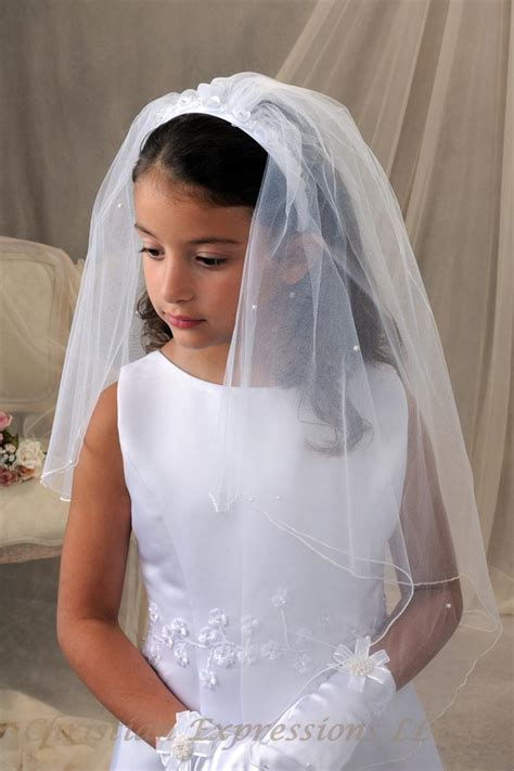 First Communion Headband Veil with Pretty Flowers   First