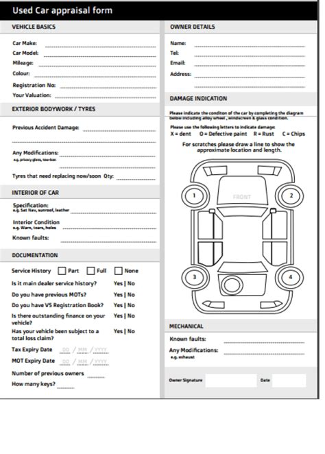 car appraisal forms find word templates