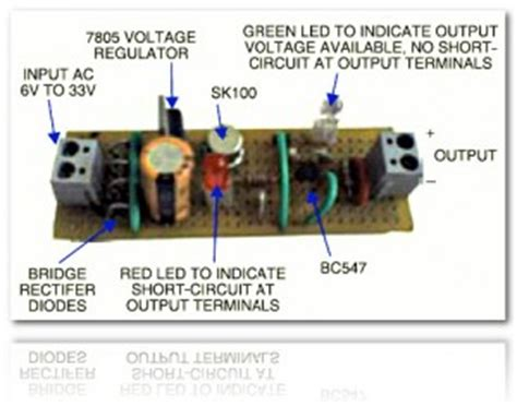 Regulated Power Supply With Short Circuit Protection