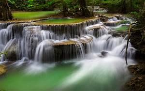 Deep, Forest, Waterfall, Kanchanaburi, Thailand, Ultra, Hd, Wallpapers, For, Desktop, Mobile, Phones, And
