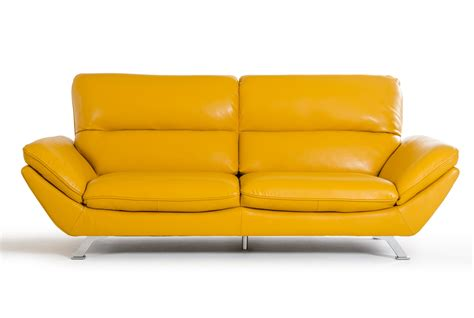 leather look sofa set divani casa daffodil modern yellow italian leather sofa set
