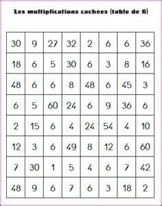 la table de multiplication de 6 les multiplications cachees chez david