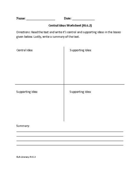 Main Idea Worksheets 6th Grade  Kidz Activities