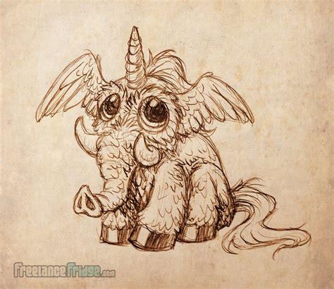 owl elephant unicorn merged animal creature drawing mixup