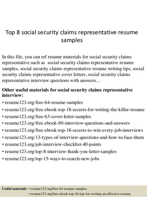 top 8 social security claims representative resume sles