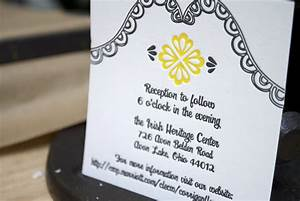 mary kevin39s modern yellow and black letterpress wedding With wedding invitation wording with reception at different location