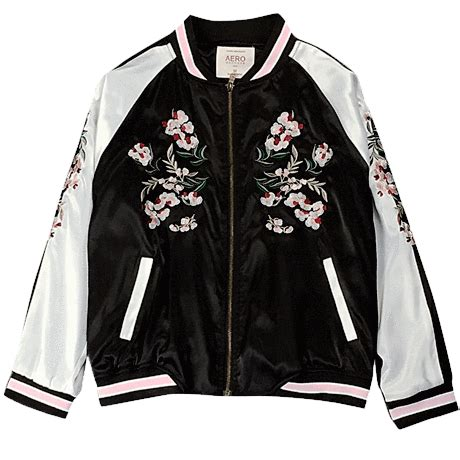 ItGirl Shop | CHINA FLORAL EMBROIDERY SILK BOMBER JACKET