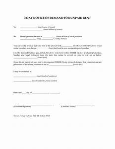 best photos of demand notice template final payment With 3 day eviction notice florida template