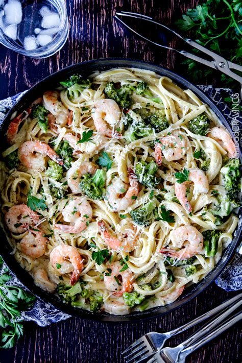 minute roasted shrimp  broccoli fettuccine alfredo