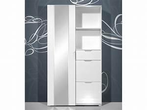 Garderobenschrank Mit Schiebetür : kompaktgarderobe garderobenschrank wei hochglanz facettenspiegel ebay ~ Indierocktalk.com Haus und Dekorationen