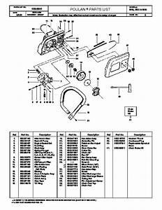 Poulan 3350 3500 3600 Chainsaw Parts List  2000