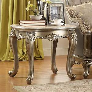 Florentina, Marble, End, Table, Silver, By, Homelegance