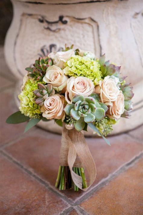 Rustic Bridal Bouquet Roses Hydrangea And Succulents