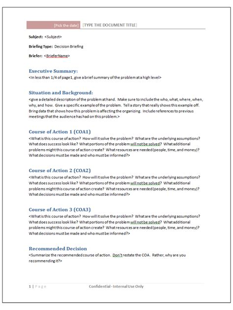 briefing paper template templates modernpresenter