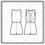 Jumpsuit Flat Coloring Template Romper Sketch Cross sketch template