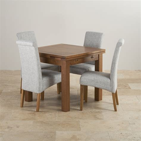 dining table with grey chairs rustic oak 3ft dining table with 4 grey fabric chairs