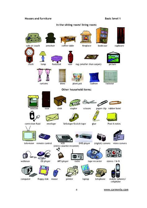 vocabulaire bureau pièces de la maison en anglais