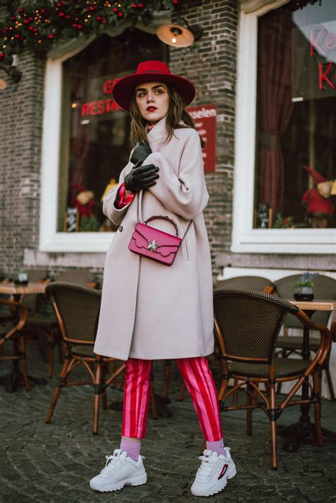 pink winter suit striped wear turtleneck coat wool outfit cute sneakers couturezilla fila street sweater chunky outfits summer christmas hat