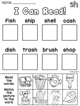 digraphs sh th worksheets and activities no prep by