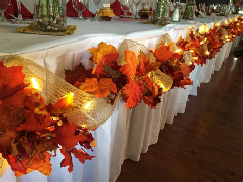 fall wedding table decoration ideas fall wedding decor head table leaves burlap lights easy