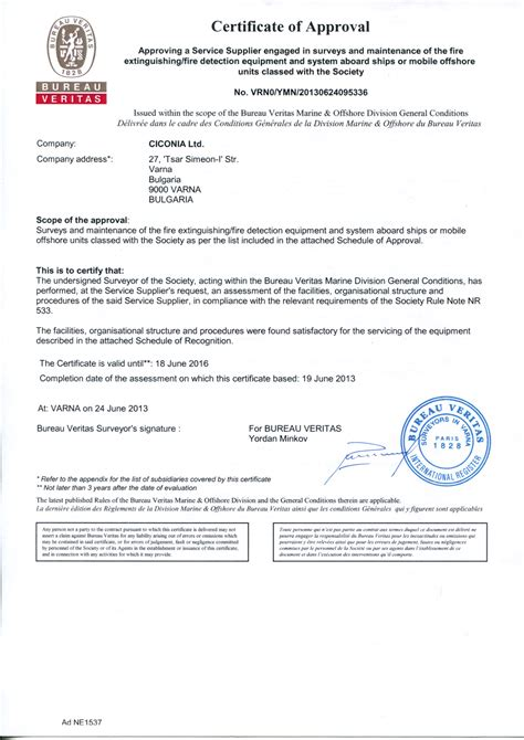 bureau veritas certification alarms certification letter for resume for safety