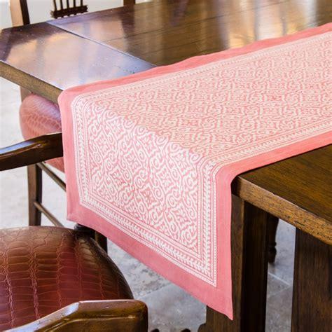 block print table runner    jaipur coral fair