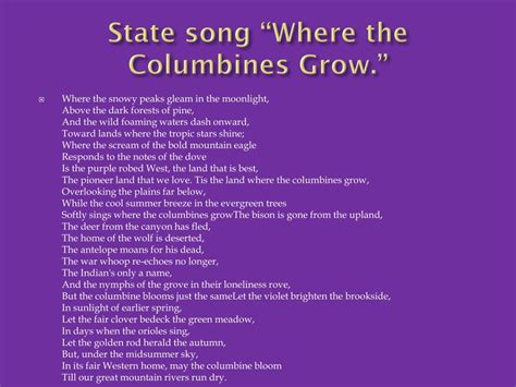 You can click on the songs to listen to them! PPT - Colorado PowerPoint Presentation, free download - ID:2372434